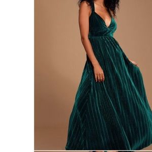 Lulus Last Song Teal Green Velvet Maxi Dress